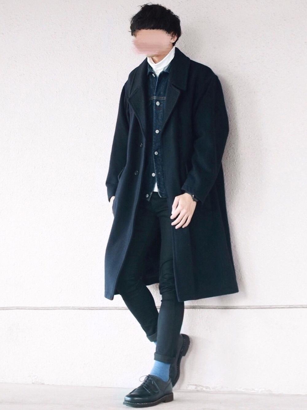 冬のデニムジャケットコーデ
