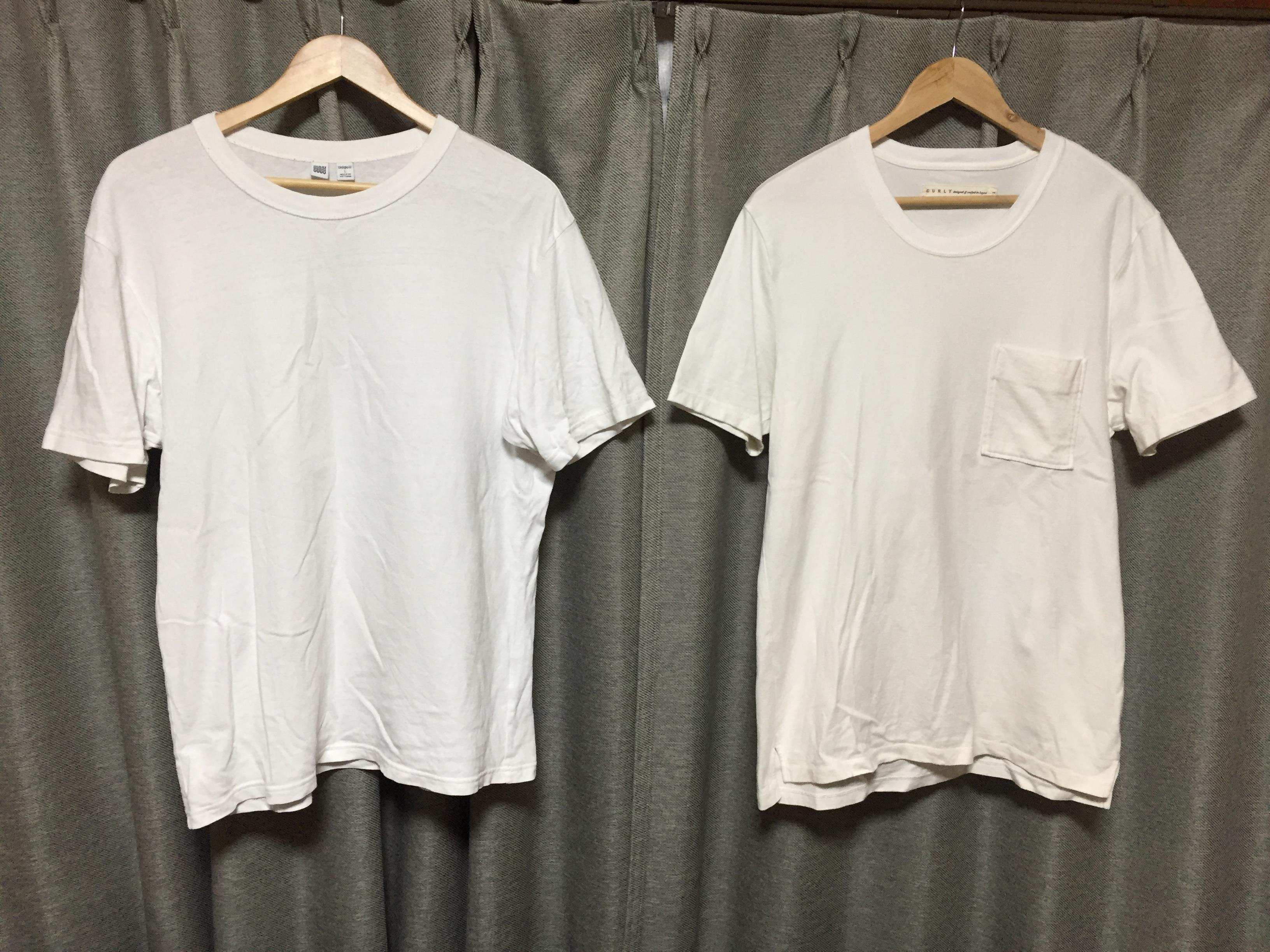 CURLYのTシャツとユニクロのTシャツ
