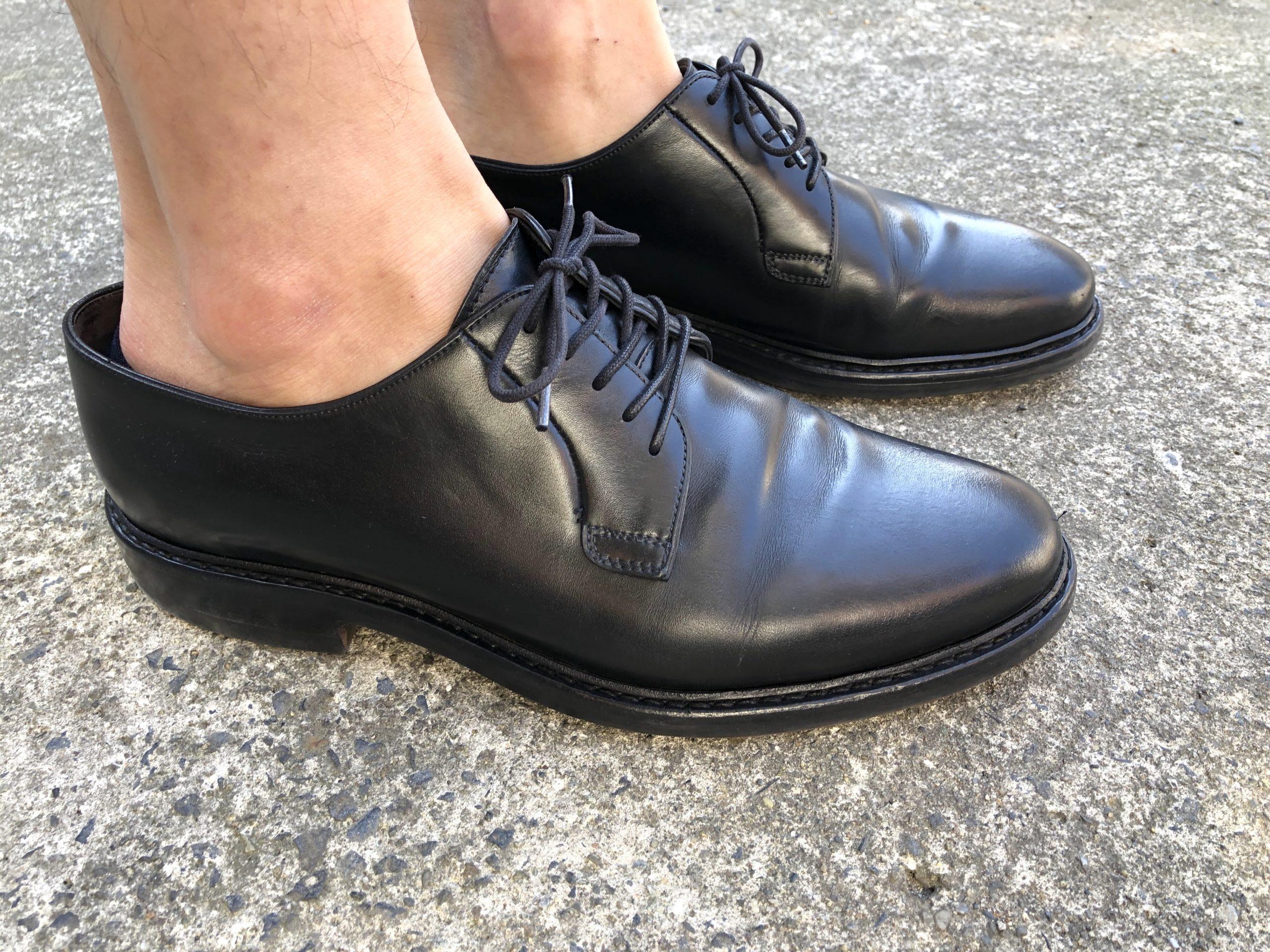 グンゼ・ボディワイルドのフットカバーの浅履きが革靴から見えるか